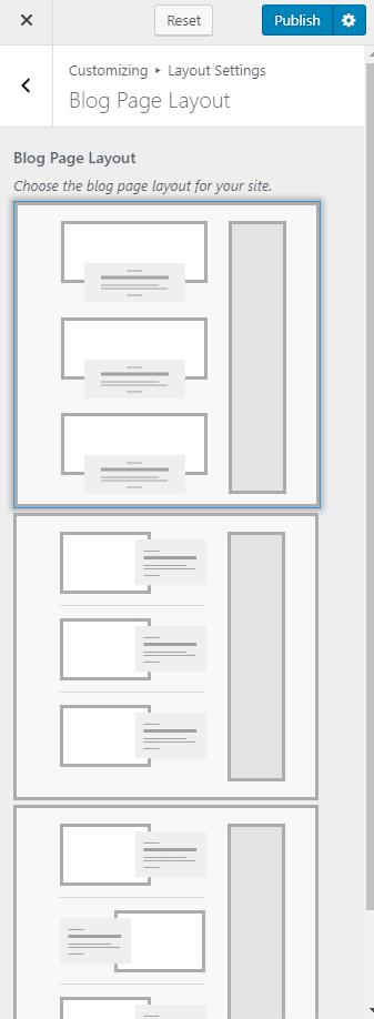 Change blog page layout