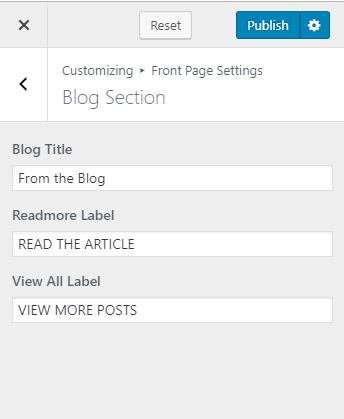 Configure blog section