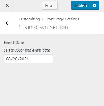 Configure countdown section