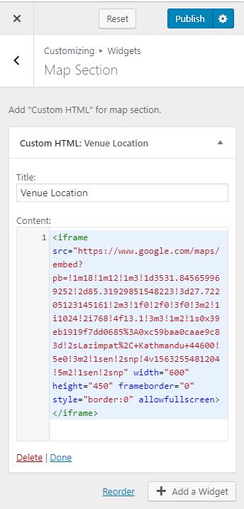 Configure map section