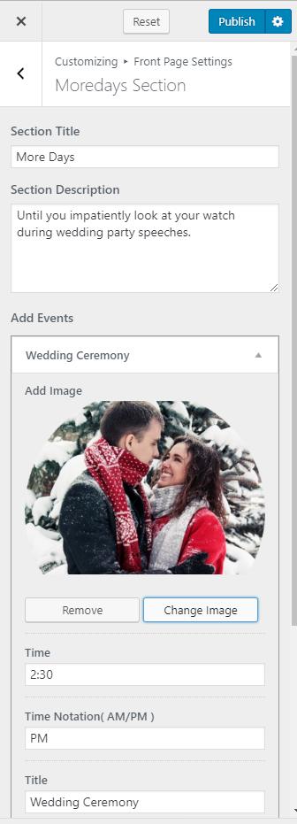 Configure moredays section blossom wedding pro