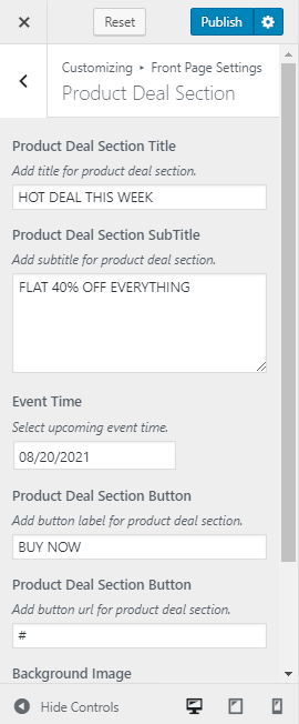 Product deal section