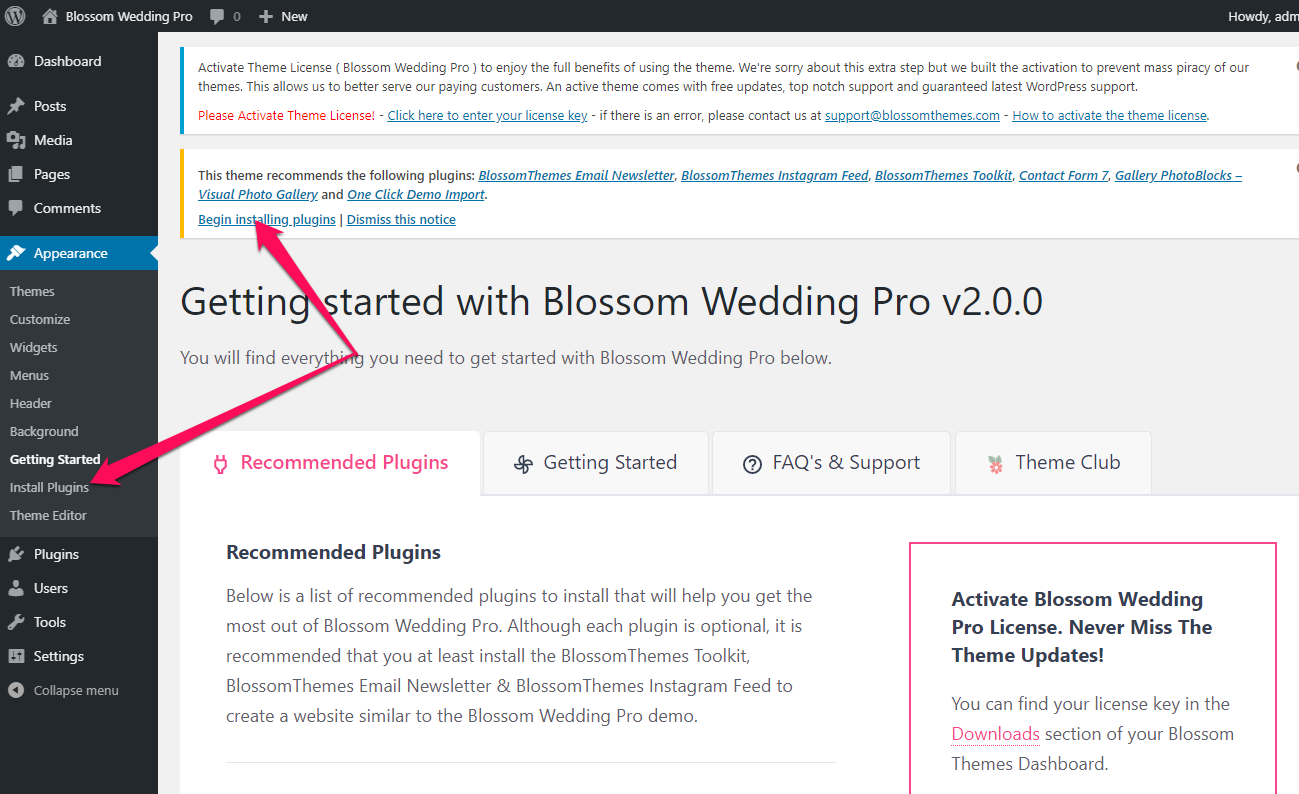 Recommended plugins blossom wedding pro