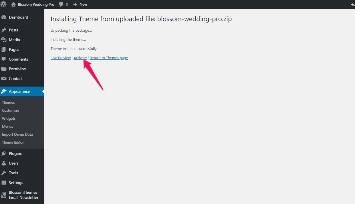 activate blossom wedding pro