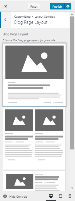 blog layout setting