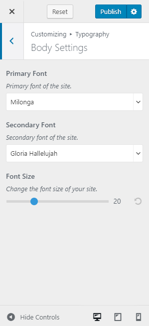 Primary and Secondary Fonts