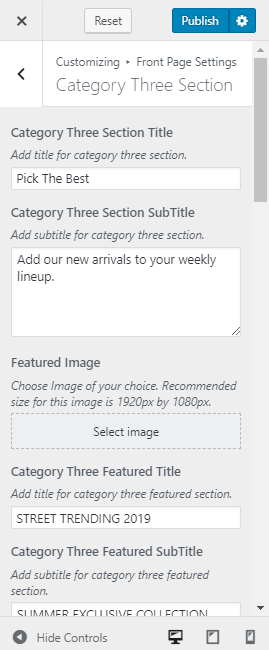category three section setting