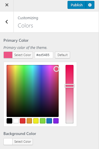 Color settings of the theme