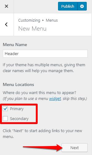Choose menu location (Customizer)