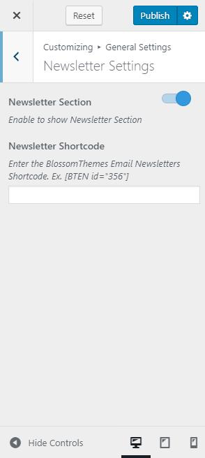newsletter setting