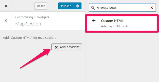 select a custom html