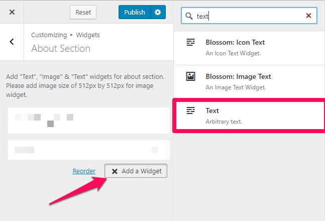 select a text widget