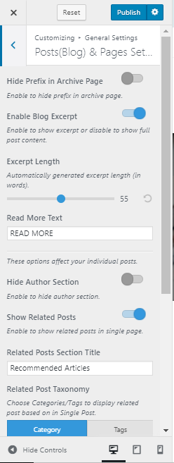single post-page setting