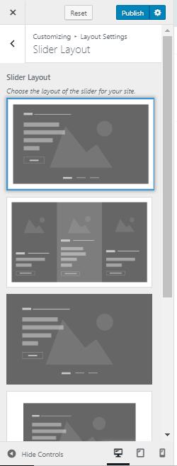 slider layout setting