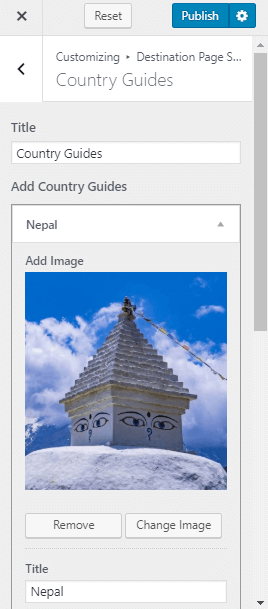 country guide section setting