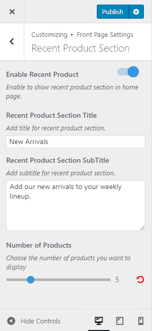 recent product section