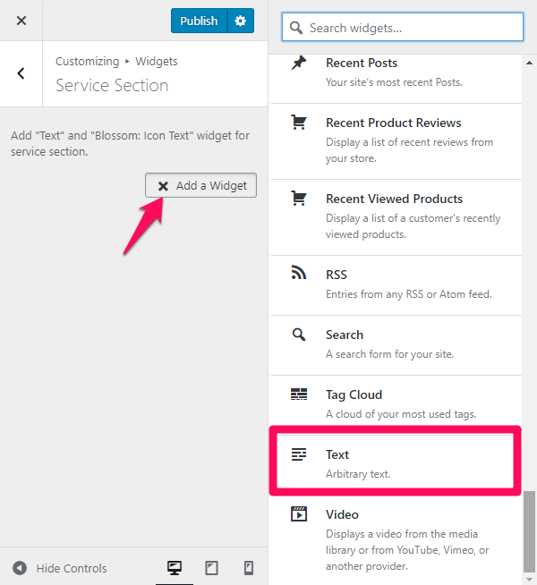 text widget for service section