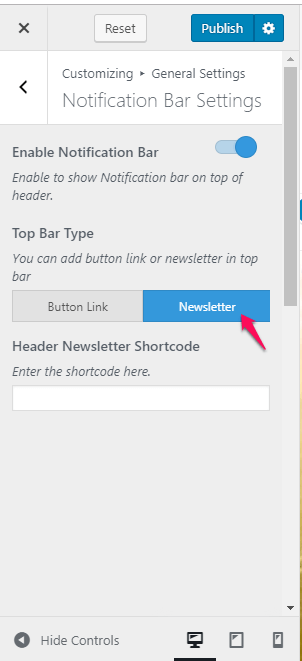 notification bar - newsletter