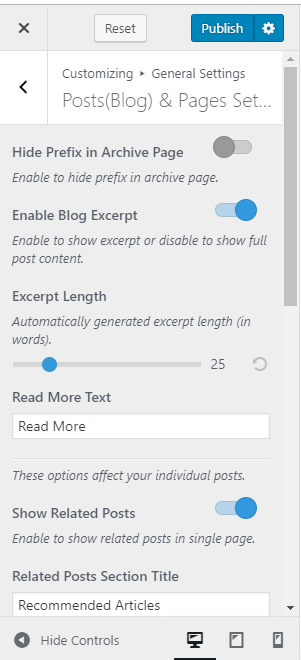 posts and pages settings